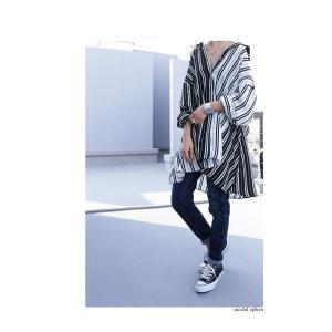 トップス 長袖 シャツ レディース バイカラー ストライプワイドシャツ・##メール便不可|antiqua|09
