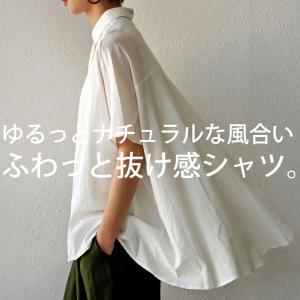 トップス シャツ 半袖 レディース ドレープ ワイド 比翼仕立てシャツ・6月12日20時〜発売。(100)メール便可|antiqua