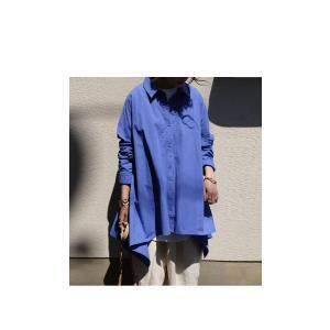 BIGバーゲン!期間限定開催!トップス シャツ 長袖 レディース 綿 ワイド 変形フレアシャツ・再販。メール便不可(返品・キャンセル・交換不可)|antiqua|04