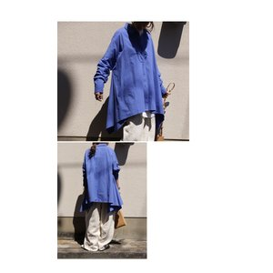 BIGバーゲン!期間限定開催!トップス シャツ 長袖 レディース 綿 ワイド 変形フレアシャツ・再販。メール便不可(返品・キャンセル・交換不可)|antiqua|09