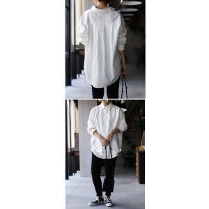 トップス シャツ 長袖 レディース 綿 綿100% 綿タックシャツ・6月13日20時〜再再販。100ptメール便可|antiqua|14