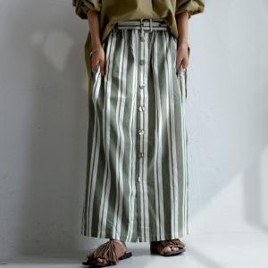 ボトムス スカート ロング レディース 綿 綿100% ストライプスカート・再販。「G」##メール便不可|antiqua
