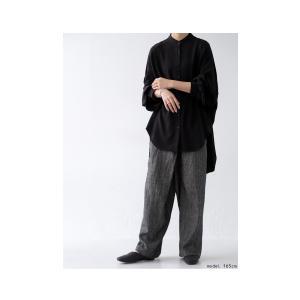 落ち感のある綺麗シルエット。一枚で様になる。スタンドカラーロングシャツ・5月9日20時〜発売。100ptメール便可|antiqua|11