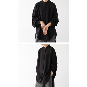落ち感のある綺麗シルエット。一枚で様になる。スタンドカラーロングシャツ・5月9日20時〜発売。100ptメール便可|antiqua|12