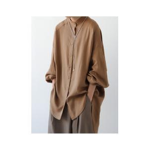 落ち感のある綺麗シルエット。一枚で様になる。スタンドカラーロングシャツ・5月9日20時〜発売。100ptメール便可|antiqua|14