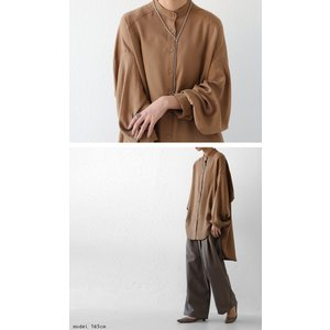 落ち感のある綺麗シルエット。一枚で様になる。スタンドカラーロングシャツ・5月9日20時〜発売。100ptメール便可|antiqua|15