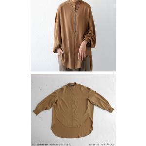 落ち感のある綺麗シルエット。一枚で様になる。スタンドカラーロングシャツ・5月9日20時〜発売。100ptメール便可|antiqua|16