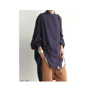 落ち感のある綺麗シルエット。一枚で様になる。スタンドカラーロングシャツ・5月9日20時〜発売。100ptメール便可|antiqua|17