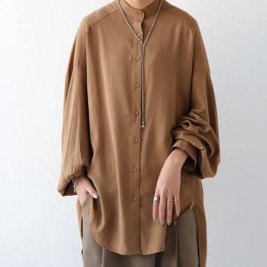 落ち感のある綺麗シルエット。一枚で様になる。スタンドカラーロングシャツ・5月9日20時〜発売。100ptメール便可|antiqua|19