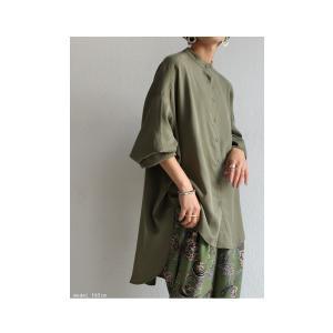 落ち感のある綺麗シルエット。一枚で様になる。スタンドカラーロングシャツ・5月9日20時〜発売。100ptメール便可|antiqua|08