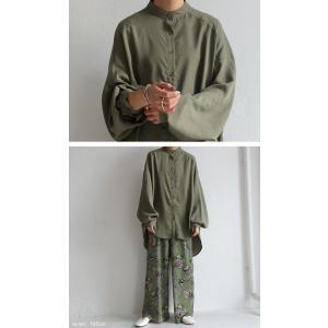 落ち感のある綺麗シルエット。一枚で様になる。スタンドカラーロングシャツ・5月9日20時〜発売。100ptメール便可|antiqua|09
