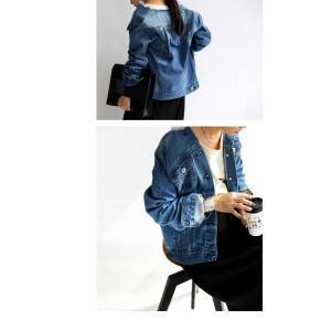 サイズ展開。鉄板シルエットの美デニムジャケット・フリンジ ノーカラー ##メール便不可|antiqua|11