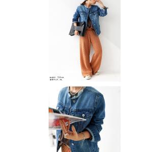 サイズ展開。鉄板シルエットの美デニムジャケット・フリンジ ノーカラー ##メール便不可|antiqua|08