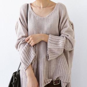 フレア ニット knit トップス  裾フレアデザインニット・再再販。「G」##メール便不可|antiqua