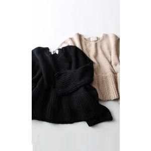 フレア ニット knit トップス  裾フレアデザインニット・再再販。「G」##メール便不可|antiqua|15