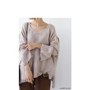 フレア ニット knit トップス  裾フレアデザインニット・再再販。「G」##メール便不可|antiqua|03