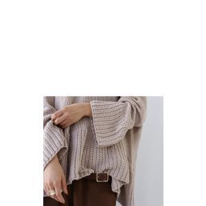 フレア ニット knit トップス  裾フレアデザインニット・再再販。「G」##メール便不可|antiqua|08