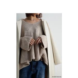 フレア ニット knit トップス  裾フレアデザインニット・再再販。「G」##メール便不可|antiqua|10