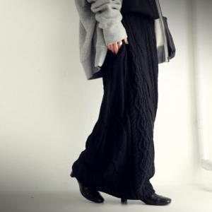 ボトムス スカート ケーブルニット 変形 モードニットスカート・11月10日20時〜発売。##メール便不可|antiqua|08