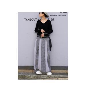 ボトムス スカート シフォン 異素材切替スカート・##メール便不可|antiqua|03