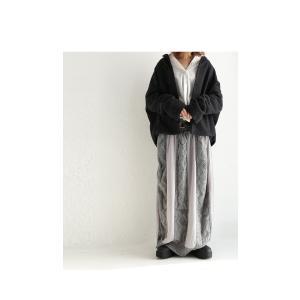 ボトムス スカート シフォン 異素材切替スカート・##メール便不可|antiqua|10