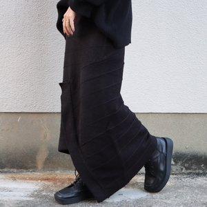 ボトムス スカート ニット アシンメトリー 天竺ニットタイトスカート・12月15日20時〜再販。「G」##メール便不可|antiqua|11