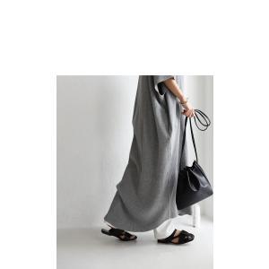 ワンピ 半袖 五分袖 レディース 綿 綿100% ロング キーネックワッフルワンピース・再販。メール便不可 antiqua 15