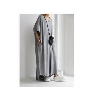 ワンピ 半袖 五分袖 レディース 綿 綿100% ロング キーネックワッフルワンピース・再販。メール便不可 antiqua 16