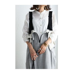 サロペット ワンピース レディース 綿 綿100% 裏毛 変形サロペスカート・12月28日20時〜再販。「G」##メール便不可|antiqua|07