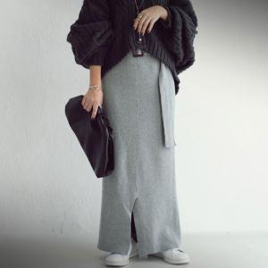 ボトムス スカート タイトスカート レディース 綿100% ベルト付き綿ニットスカート・##メール便不可|antiqua