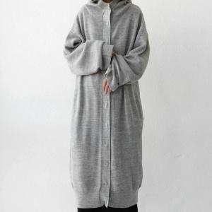 アウター コート ノーカラー 長袖 レディース フードニットコート・9月28日20時〜発売。##メール便不可|antiqua