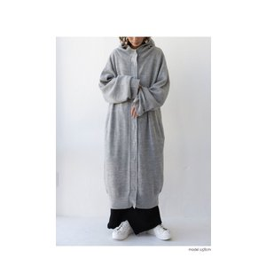 アウター コート ノーカラー 長袖 レディース フードニットコート・9月28日20時〜発売。##メール便不可|antiqua|05