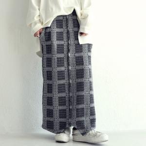 ボトムス スカート タイトスカート 綿ニット ロングスカート チェック柄ニットスカート・10月19日20時〜発売。##メール便不可|antiqua
