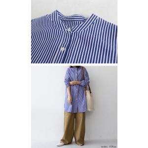 トップス シャツ レディース 長袖 オープンカラー 綿 綿100 ストライプ柄ロングシャツ・メール便不可 antiqua 03
