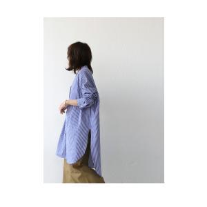 トップス シャツ レディース 長袖 オープンカラー 綿 綿100 ストライプ柄ロングシャツ・メール便不可 antiqua 04