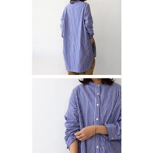 トップス シャツ レディース 長袖 オープンカラー 綿 綿100 ストライプ柄ロングシャツ・メール便不可 antiqua 05
