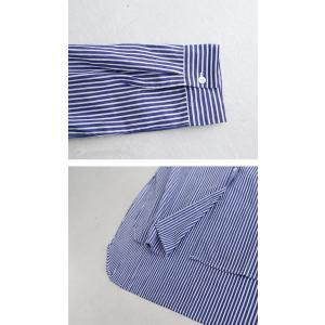 トップス シャツ レディース 長袖 オープンカラー 綿 綿100 ストライプ柄ロングシャツ・メール便不可 antiqua 07