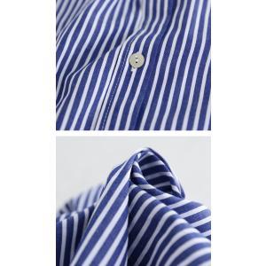トップス シャツ レディース 長袖 オープンカラー 綿 綿100 ストライプ柄ロングシャツ・メール便不可 antiqua 08