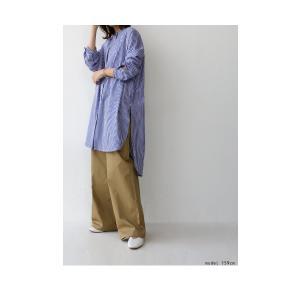 トップス シャツ レディース 長袖 オープンカラー 綿 綿100 ストライプ柄ロングシャツ・メール便不可 antiqua 09