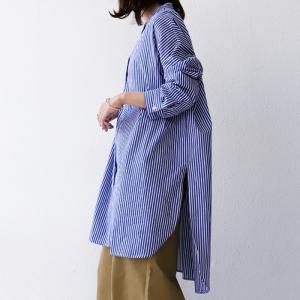 トップス シャツ レディース 長袖 オープンカラー 綿 綿100 ストライプ柄ロングシャツ・メール便不可 antiqua 10