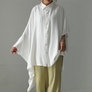 トップス シャツ 長袖 半袖 五分袖 アシンメトリー ワイド アシメシャツ・(100)メール便可|antiqua