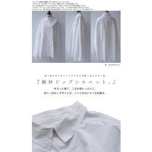 トップス シャツ 長袖 レディース 綿 綿100 ロングシャツ カットオフシャツ・##メール便不可|antiqua|02