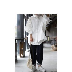 トップス シャツ 長袖 レディース 綿 綿100 ロングシャツ カットオフシャツ・##メール便不可|antiqua|03