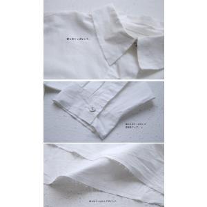 トップス シャツ 長袖 レディース 綿 綿100 ロングシャツ カットオフシャツ・##メール便不可|antiqua|06