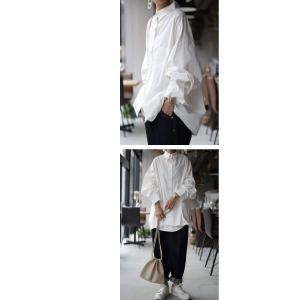 トップス シャツ 長袖 レディース 綿 綿100 ロングシャツ カットオフシャツ・##メール便不可|antiqua|08