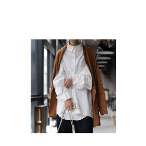 トップス シャツ 長袖 レディース 綿 綿100 ロングシャツ カットオフシャツ・##メール便不可|antiqua|09