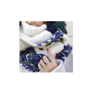 スヌード 異素材 花柄 チェック 異素材柄切り替えスヌード##・9月4日20時〜再再販。|antiqua|03