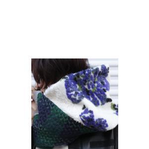 スヌード 異素材 花柄 チェック 異素材柄切り替えスヌード##・10月21日20時〜再再販。メール便不可|antiqua|08