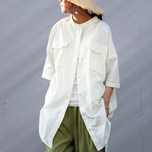 トップス レディース シャツ 半袖 ワイド シェルボタン フラップポケット付きバンドカラーシャツ・6月24日20時〜発売。メール便不可|antiqua