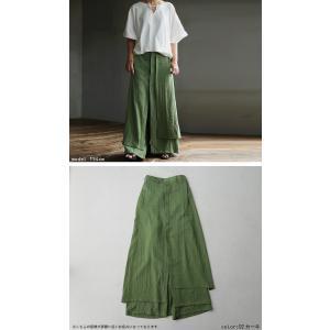 まるでスカートのような上品な佇まい。デザインワイドパンツ・1月12日20時〜再再販。##メール便不可 antiqua 05